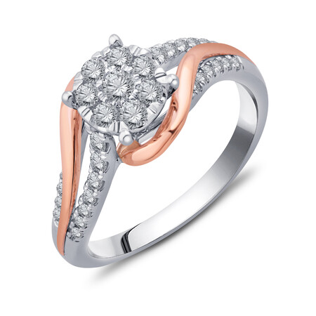 Cluster Ring with 1/2 Carat TW of Diamonds in 10ct Yellow & White Gold