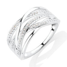 Crossover Ring with Diamonds in Sterling Silver