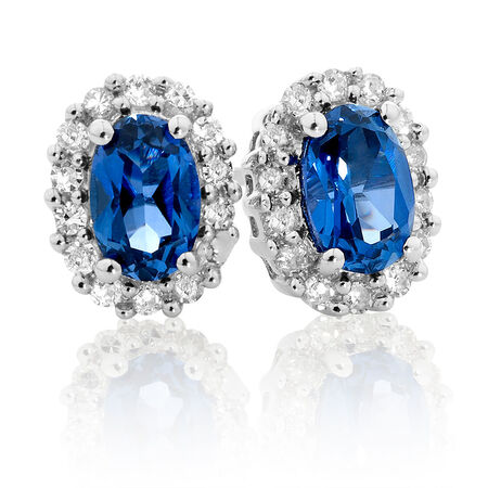 Stud Earrings with Created Sapphire & 0.19 Carat TW of Diamonds in 10ct White Gold