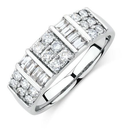 Ring with 3/4 Carat TW of Diamonds in 10ct White Gold
