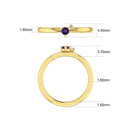 Stacker Ring with Diamond & Amethyst in 10ct Yellow Gold