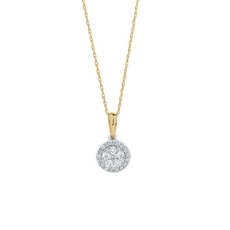Cluster Pendant with 0.34 Carat TW of Diamonds in 10ct Yellow & White Gold