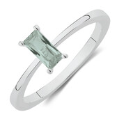 Ring with Created Mint Gemstone in Sterling Silver