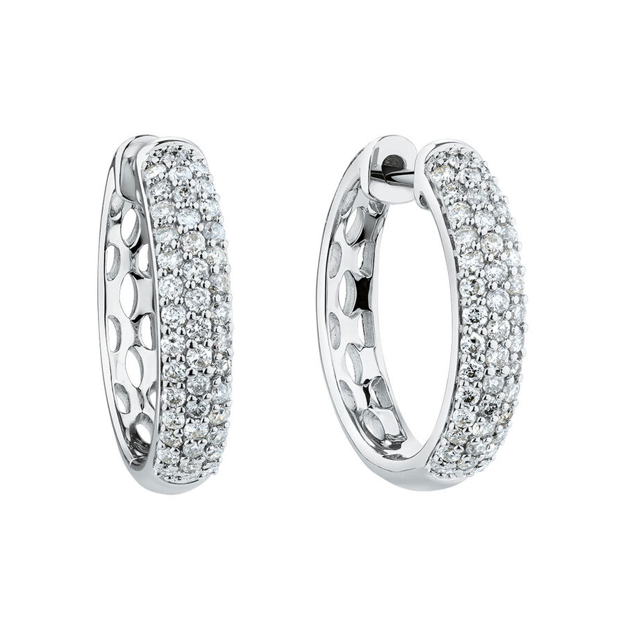Huggie Earrings With 0.60 Carat TW Of Diamonds In 10ct White Gold
