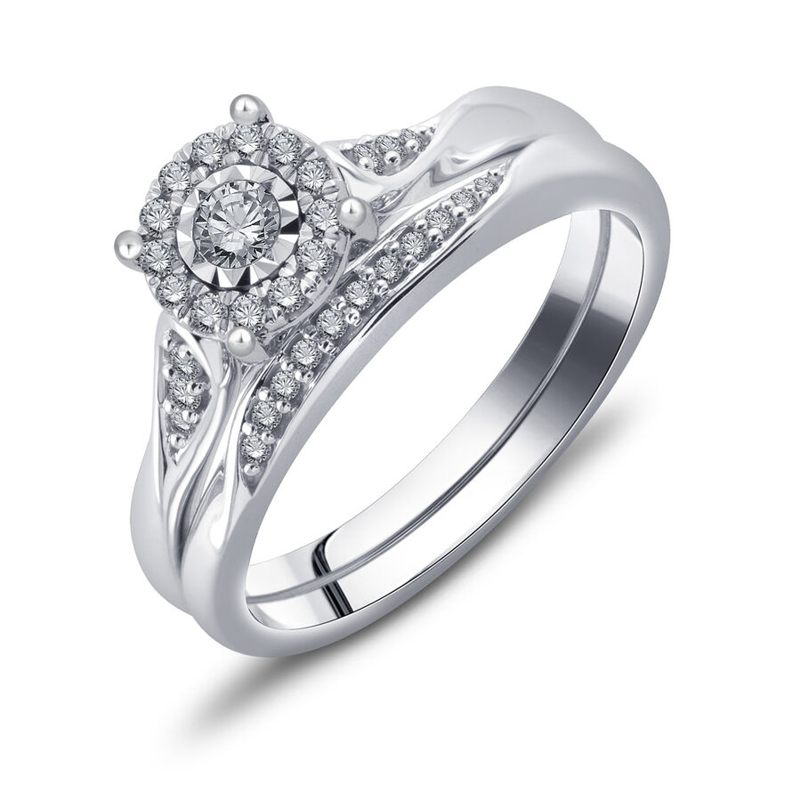 Bridal Set with 1/4 Carat TW of Diamonds in 10ct White Gold