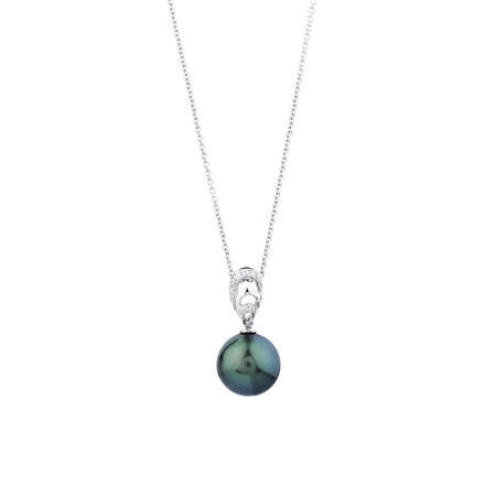 Pendant With Cultured Tahitian Pearl & Diamonds In 14ct White Gold