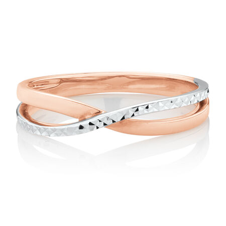 Patterned Ring in 10ct Rose & White Gold