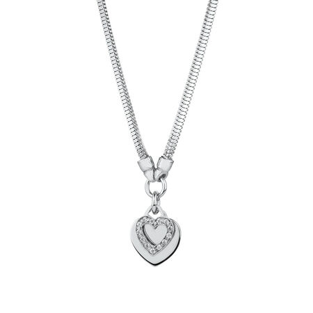 Double Heart Necklace in Cubic Zirconia in Sterling Silver