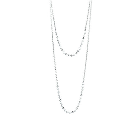 """40cm (16"""") Double Strand Adjustable Necklace in Sterling Silver"""