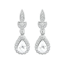 Pear Drop Earrings with Cubic Zirconia in Sterling Silver