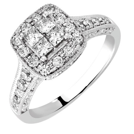 Engagement Ring with 0.82 Carat TW of Diamonds in 14ct White Gold
