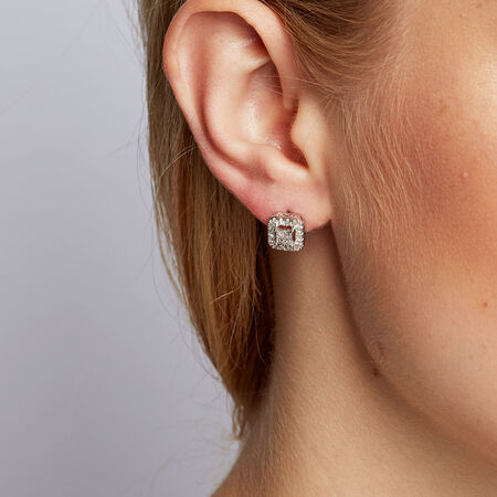 Stud Earrings with 1/2 Carat TW of Diamonds in 10ct White Gold