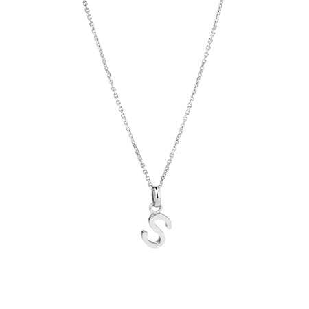"""""""S"""" Initial Pendant in Sterling Silver"""
