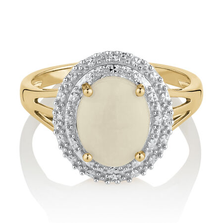 Ring with Created White Opal & Diamonds in 10ct Yellow & White Gold