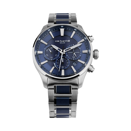 Solar Powered Men's Watch with Blue Tone in Stainless Steel