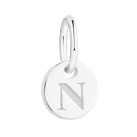 """N"" Initial Mini Pendant in Sterling Silver"