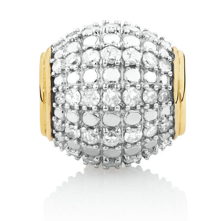 Charm with 0.54 Carat TW of Diamonds in 10ct Yellow Gold