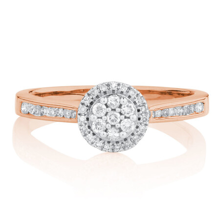 Engagement Ring with 1/4 Carat TW of Diamonds in 10ct Rose & White Gold