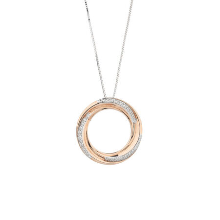 Online Exclusive - Circle Pendant with Diamonds in 10ct Rose & White Gold