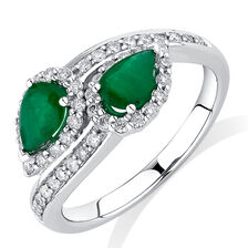 By My Side Ring with 0.16 Carat TW of Diamonds & Emerald in 10ct White Gold