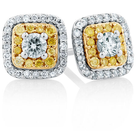 Stud Earrings with a 1/2 Carat TW of Yellow & White Diamonds in 10ct Yellow & White Gold