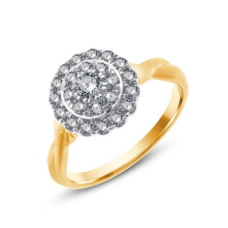 Twist Ring with 0.63 Carat TW of Diamonds in 10ct Yellow & White Gold