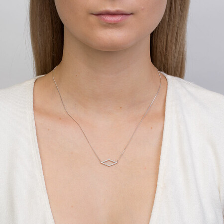 Geometric Necklace with Diamonds in Sterling Silver