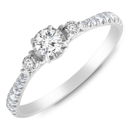 Three Stone Ring with 0.33 Carat TW of Diamonds in 10ct White Gold