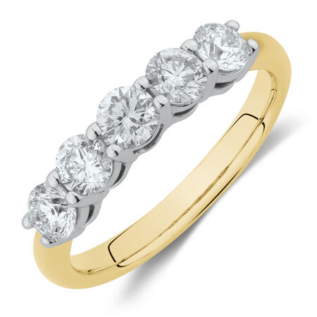 Evermore5 Stone Wedding Band with 1 Carat TW of Diamonds in 14ctYellow & WhiteGold