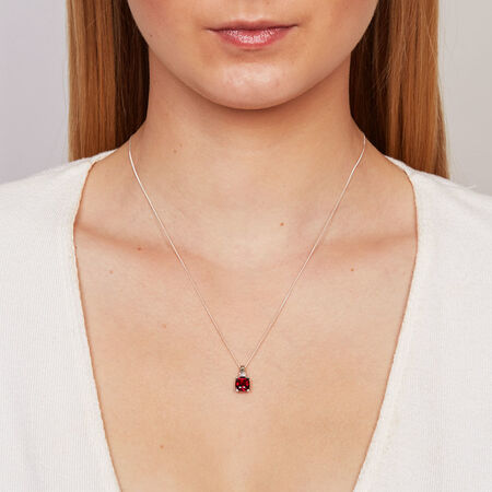 Online Exclusive - Pendant with Created Ruby & Diamonds in 10ct White Gold