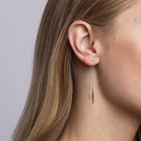 Teardrop Thread Earrings in 10ct Yellow Gold