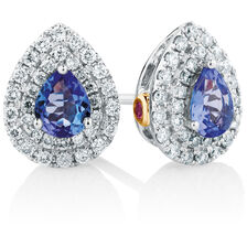 Michael Hill Designer Stud Earrings with Tanzanite & 1/4 Carat TW of Diamonds in 14ct White & Rose Gold