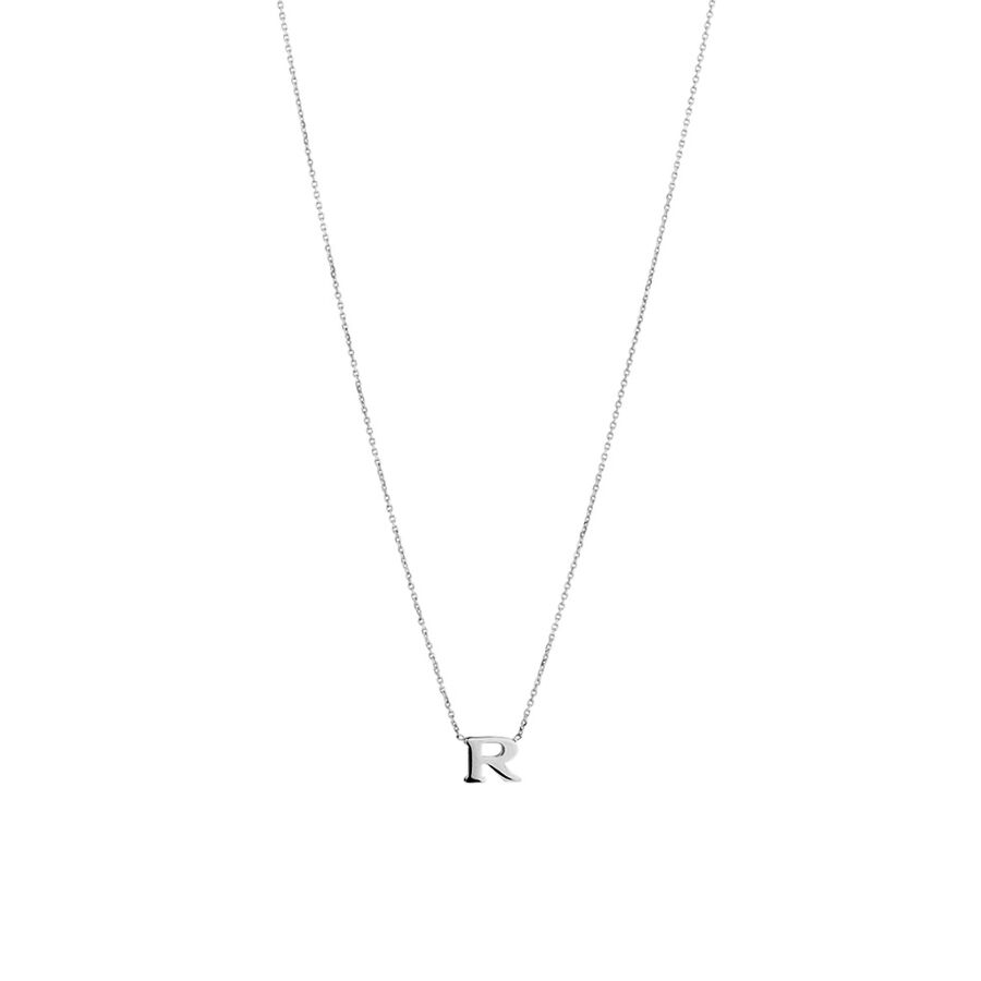 'R' Initial Necklace in Sterling Silver