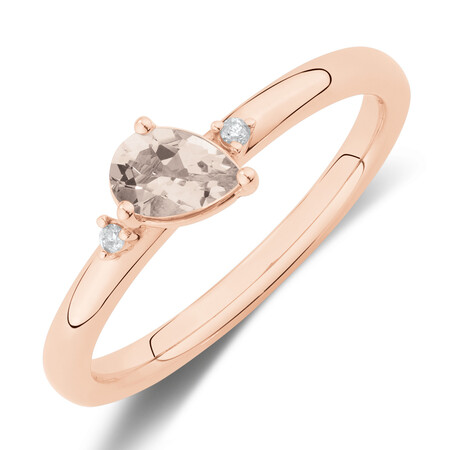 Stacker Ring wtih Diamonds & Morganite in 10ct Rose Gold