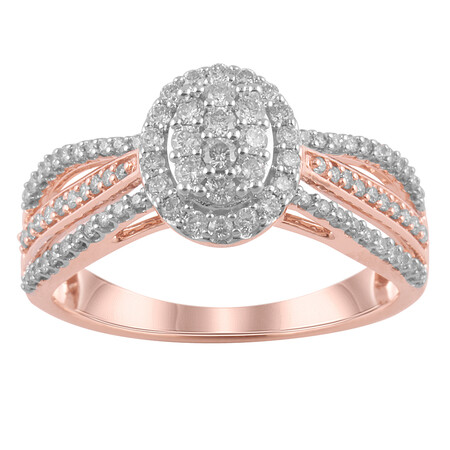 Oval Ring with 1/2 Carat TW of Diamonds in 10ct Rose Gold