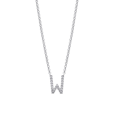"""""""W"""" Initial necklace with 0.10 Carat TW of Diamonds in 10ct White Gold"""