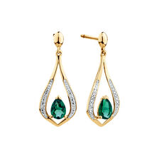 Drop Earrings with Created Emerald & Diamonds in 10ct Yellow Gold