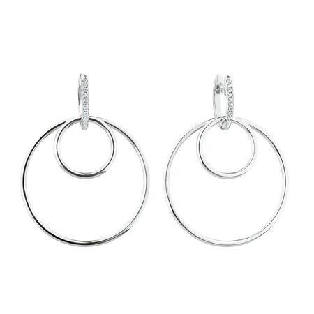 Hoop Earring Set with Cubic Zirconia in Sterling Silver