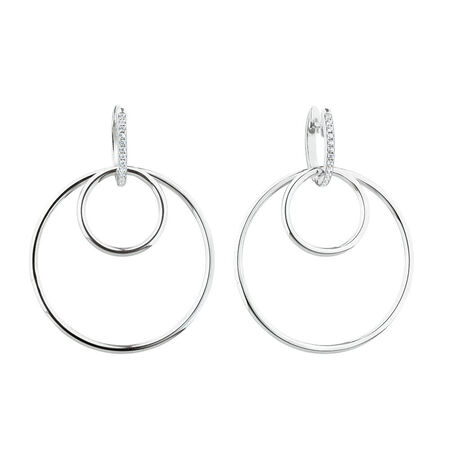 Hoop Earring Set with Cubic Zirconia in Sterling Silver
