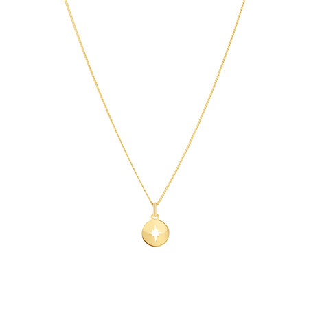 North Star Disc Pendant In 10ct Yellow Gold