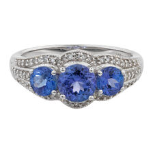 Online Exclusive - Ring with 0.23 Carat TW of Diamonds & Tanzanite in 10ct White Gold
