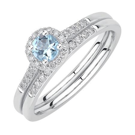 Evermore Bridal Set with Aquamarine & 0.20 Carat TW of Diamonds in 10ct White Gold