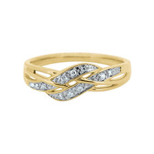 Swirl Ring with Diamonds in 10ct Yellow Gold