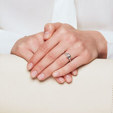 Heart Promise Ring with Diamonds in 10ct White Gold