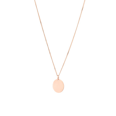Large Oval Disc Pendant in 10ct Rose Gold