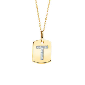 """T"" Initial Rectangular Pendant With Diamonds In 10ct Yellow Gold"