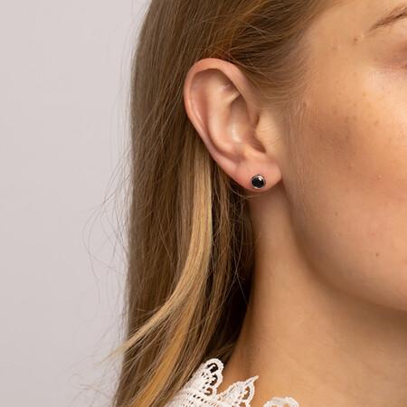 Stud Earrings with Black Cubic Zirconia in Sterling Silver