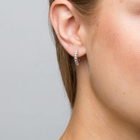 Online Exclusive - Hoop Earrings with Diamonds in Sterling Silver