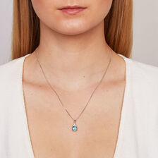 Pendant with Blue Topaz & Created White Sapphire in Sterling Silver
