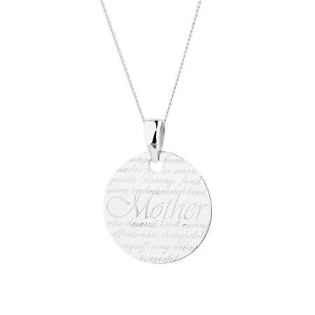 Mother' Pendant in Sterling Silver